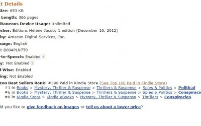 Remoras dans le Top 400 Kindle US